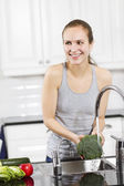 Woman make Healthy Food — Stock Photo