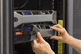 IT Consultant Working with Rack Servers — Stock Photo