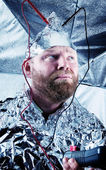 Paranoid Dude with a Tin Foil Hat — Stock Photo