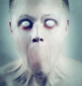 White Eyed Psychedelic Face — Stock Photo