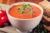 Fresh Tomato Soup with Bread — Stock Photo