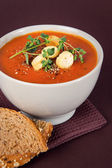 Tomato Soup with Croutons and Herbs — Stock Photo