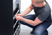 Technician Maintain UPS Battery Units — Foto Stock
