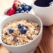 Breakfast bowl of muesli with fresh berries — Stock Photo