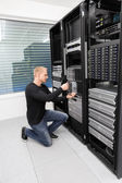 It consultant replace blade server in datacenter — Stock Photo