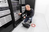 It consultant work in datacenter — Stock Photo