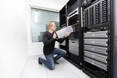 It technician replace blade server in datacenter — Stock Photo