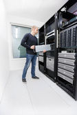 It consultant work with in datacenter — Stock Photo