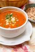 Fresh Tomato Soup with Bread and Cheese — Stock Photo