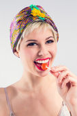 Happy vintage girl with candy — Stock Photo
