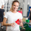 Woman taking a break at fitness gym center — Stock Photo