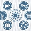 Summer retro icons — Stock Vector