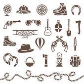 Classical outdoor equipment for adventure — Stock Vector