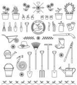 инструменты для сада — Cтоковый вектор