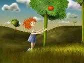 Oranžový dívka — Stock fotografie