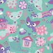 Cute funny seamless pattern with cats and fishes — Stock Vector