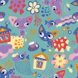 Children's seamless pattern with cats and fishes — Stok Vektör