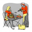 Young couple with food. — Stock Vector