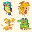 Illustration Set of cute animals: owl, crocodile, mouse, hedgeho — Image vectorielle
