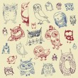 Owl Doodle Collection - hand drawn - vector — Stock Vector