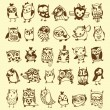 Owl Doodle Collection - hand drawn - vector — Image vectorielle