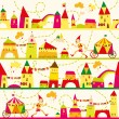 Seamless pattern with houses for childrens background. Seamless — Stock Vector