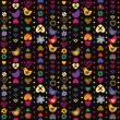 Heart bird flower seamless pattern on dark background. Vector il — Vettoriali Stock