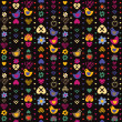 Heart bird flower seamless pattern on dark background. Vector il — Stok Vektör