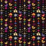 暗い背景に心鳥花シームレスなパターン。il をベクトルします。 — ストックベクタ