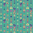 Heart bird flower seamless pattern on blue background. Vector il — Vettoriali Stock