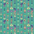 心鳥花シームレスなパターン青の背景。il をベクトルします。 — ストックベクタ