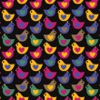 Bird heart seamless pattern on dark background. Vector illustrat — Stock Vector
