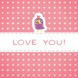 Owls cute greeting card and hearts seamless background. Place fo — Stock Vector