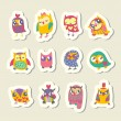 Stock Vector: Set of cartoon owls stickers