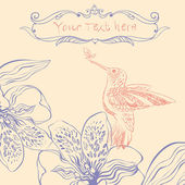 Vektor-illustration eines vogels und blühende blumen — Stockvektor