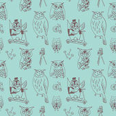 Seamless vintage owl pattern — Stock Vector