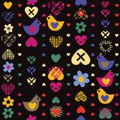 暗い背景に心鳥花シームレスなパターン — ストックベクタ