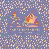 Carta di compleanno per bambini. sfondo con gocce colorate. ve — Vettoriale Stock
