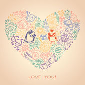 Multicoloured heart and owl template for greeting card and sampl — Vector de stock