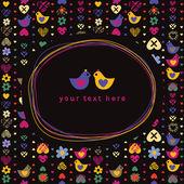 каракули кадра и сердце птица цветок бесшовный фон на темные спины — Cтоковый вектор
