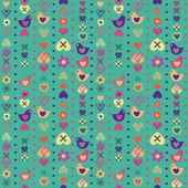 Heart bird flower seamless pattern on blue background. Vector il — Stock Vector