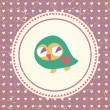 Vintage owls greeting card and hearts seamless background. Hand — ベクター素材ストック