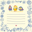Owls cute cartoon card and sample text. Template for design cart — Imagen vectorial