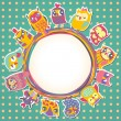 Childrens background with multicolored cartoon owls for cute car — ストックベクタ
