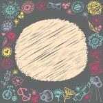 cadre de Doodle de cercle. cadeau carton et échantillon de texte. fond sombre — Vecteur