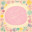 Doodle circle frame. Gift card and sample text. Light background — ストックベクタ