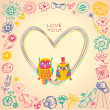 Heart frame. Owls cute gift card and sample text. Light backgrou — 图库矢量图片