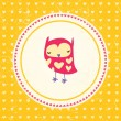 Vintage owls greeting card and hearts seamless background. Hand — Stock Vector