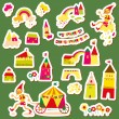 Set of children's stickers. Multi-colored houses. — Stock Vector