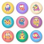 Set of owls cartoon badge template illustration — Stock Vector